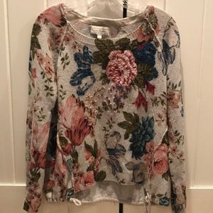 Anthropologie floral embroidered sweater